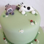 Cow topper birthday cake