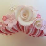 Details of pink stripes ladies birthday cake