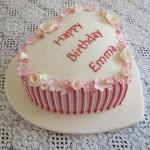 Ladies pink and white birthday cake