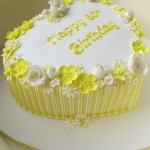 Yellow heart candy stripes 60th cake
